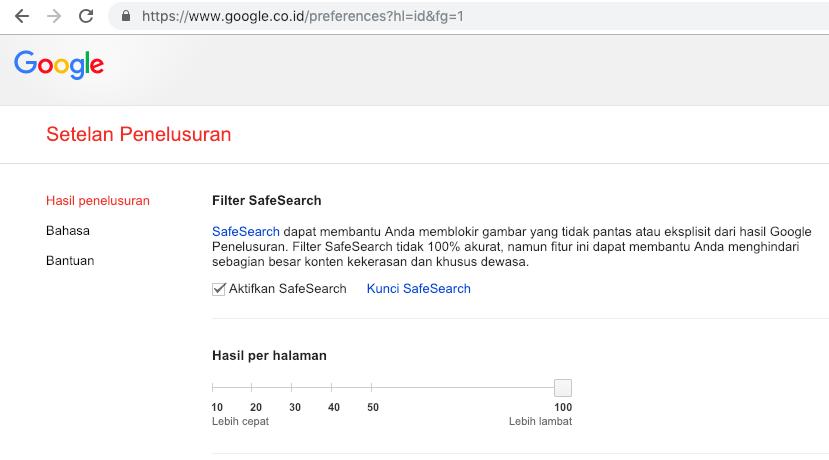 Hasil per halaman Google